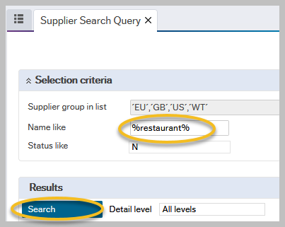 Agresso Supplier Search