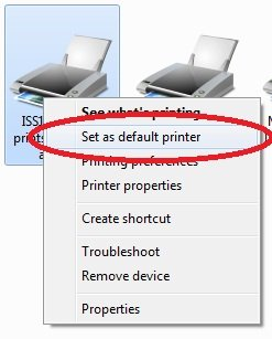 Right-click any printer that isn't set as the default and choose Set as Default Printer from the shortcut menu. If you right-click the printer that is already set as the default, the Set as Default Printer command won't be available on the shortcut menu.