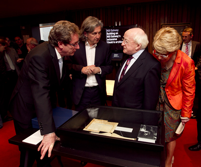 President Michael D Higgins Sabina, Fiach MacConghail and Dr Jim Browne