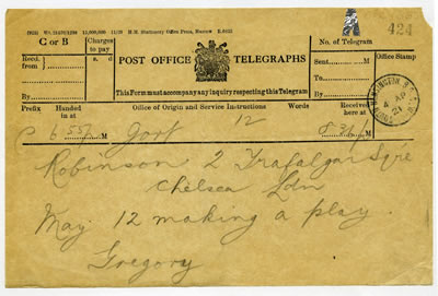1921 Lady Gregory Telegram to Lennox Robinson