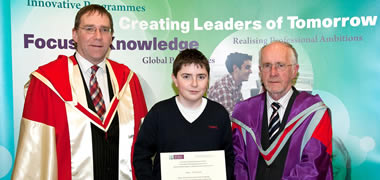 Pictured at the NUI Galway/BSTAI Junior Cert Business Studies Awards Ceremony was Dr Gerard Turley, NUI Galway, Dáire McKiernan from Mohill Community College, Mohill, Co. Leitrim and Professor Nollaig MacCongáil, NUI Galway.