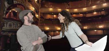 Druid actor, Marty Rea, performing at the Grand Opera House Belfast, with NUI Galway Drama student, Brídín ní Mhaoldomhnaigh, from Donegal,  at the launch of a new Druid Academy at NUI Galway.