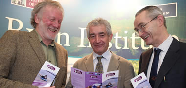 Environmental campaigner Tony Juniper pictured here with Professor Colin Brown, Director of the Ryan Institute (left) and Professor Martin Cormican, Director of the Centre for Health from Environment.