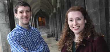 Pictured are NUI Galway BComm students James O'Brien and Ruth Guinane.