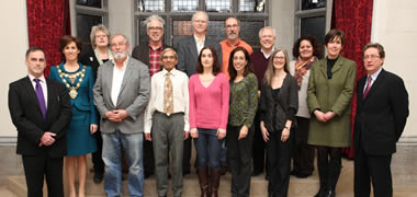 Pictured, back row (l-r): Fulbright scholars Dr Kathryn Laity, Michael Murphy, Dr Mark Shaurette, Michael Falk, Dr William F. McComas and Vanessa B. Cruz.
