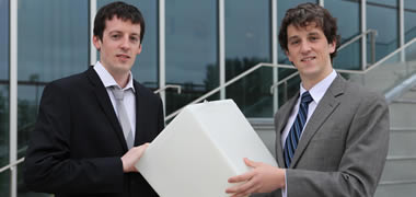 NUI Galway PhD students and rocket engineers (left) David Grogan and (right) Brendan Murray.