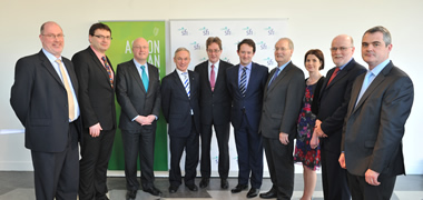 Pictured at the announcement of SFI's €300m Investment in Seven Research Centres were (l-r): Mike Turley, Professor Stefan Decker, both of DERI, NUI Galway; Professor Mark Ferguson, Director General Science Foundation Ireland;  Richard Bruton TD, Minister for Jobs, Enterprise and Innovation; NUI Galway President, Dr Jim Browne; Sean Sherlock TD, Minister for Research and Innovation; Professor Pat Fottrell, SFI Chairperson; Dr Ann Ryan, NUI Galway; Professor Michael Hartnett, NUI Galway; and Dr Conchur O'Brádaigh, NUI Galway