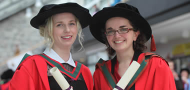 Pictured are Drs Lisa O'Flynn from Nenagh Co. Tipperary and Estelle Collin from France, who were both conferred with a PhD by NUI Galway