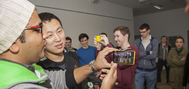 Students from GMIT and NUI Galway try out the Annoying Mosquito game.