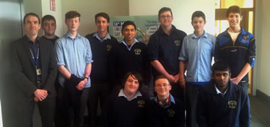 Students from St Endas with REMEDI Manager Kieran Ryan (left).