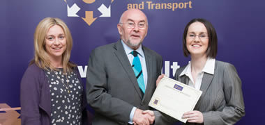 Mary Dempsey, Lecturer in Mechanical Engineering at NUI Galway; Minister for Education, Ruairí Quinn T.D.; and NUI Galway student, Kelley Rickard.