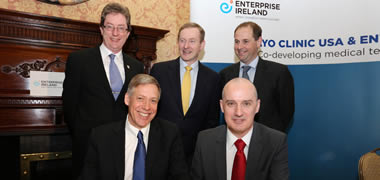 Back row (l-r): Dr Jim Browne, NUI Galway President; An Taoiseach, Enda Kenny; Dr Mark Bruzzi, Director of BioInnovate Ireland and Lecturer in Biomedical Engineering, NUI Galway. Front row (l-r): Jeff Bolton, Vice-President, Mayo Clinic; and Dr Keith O'Neill, Director of Life Sciences Commercialisation, Enterprise Ireland.