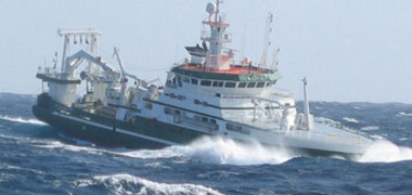 Research vessel RV Celtic Explorer in heavy seas