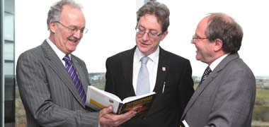 Pictured at the book launch from left Professor Ger Hurley; NUI Galway President, Dr Jim Browne; and W.H. Wölfle, Convertec Ltd.