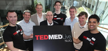 Dr Ger Flaherty (left) and third year medicine student Tariq Esmail (right) with John Campion (centre back) and speakers at the TEDMED Live event at NUI Galway