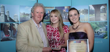 Best Civic Contribution: Voluntary Services Abroad Society (l-r): Matt Doran, Presenter with Aoife Kirk and Miriam Wynne.