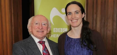 Pictured is President Michael D. Higgins with Máiréad Ní Chróinín of Moonfish Theatre