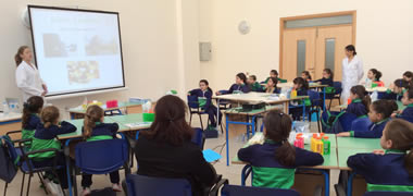 Students from fifth year of St Joseph Sliema primary school in Malta learn about cells and DNA with Cell EXPLORERS Dr Claire Concannon and Nancy Cunniffe.