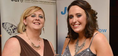 JCI President, Michelle Daly-Hayes, with award winner Eva-Marie Costello from Athenry, Co. Galway.