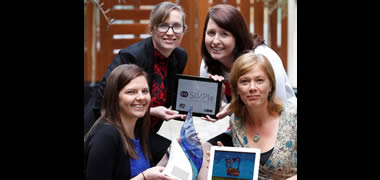 Pictured are the team behind 'BugRun School Days' iPad app, from the Discipline of General Practice, School of Medicine at NUI Galway, (clockwise from left) Post Doctorate Fellows Sinead Duane, Sandra Galvin and Aoife Callan, and the project leader Dr Akke Vellinga