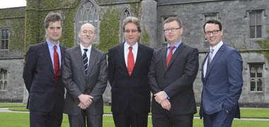 Pictured at the announcement of NUI Galway's Regenerative Medicine Institute (REMEDI) and Orbsen Therapeutics €6M EU FP-funded VISICORT project were from L-R: Andrew Finnerty, Professor Matthew Griffin and Dr James Browne of NUI Galway, and Brian Molloy and Dr Stephen Elliman of Orbsen Therapeutics.