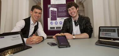 Pictured are (l-r) Fionn Delahunty and Darren Kelly, creators of the NUI Galway Mobile App.
