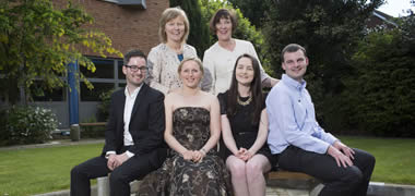 Pictured are NUI Galway Fulbright Awardees (back row, l-r): Dr Emer Mulligan and Professor Fidelma Dunne. Front row (l-r): Dr Gavin Collins, Alena Yuryna Connolly,  Julanne Murphy and Colm Mac Fhionnghaile.