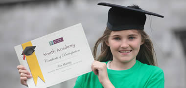 Graduating from NUI Galway's Youth Academy was 12 year old Ava Murray from Claregalway National School, Co. Galway.