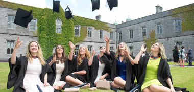 Harriet Smyth from Dublin, Rebecca Finnegan from Galway, Rebecca Sheeran from Athlone, Co. Westmeath, Fiona Nolan from Arklow, Co. Wicklow, Niamh McDonnell from Sligo, and Catherine McGinnity from Derry who received Bachelors of Medicine from NUI Galway.