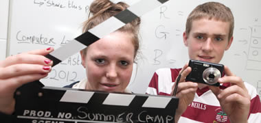 First year student from Dominican College in Taylor's Hill, Aisling Dempsey, and Enda Wright, a fifth year student at The Bish, take part in a film making project at the recent NUI Galway Computing Summer Camp.