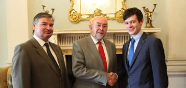 Minister Ruairí Quinn with NUI Galway's Michael Campion and Conor Gilmore at the ACE Conference at Farmleigh House, Dublin.