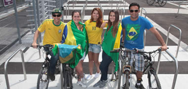 Pictured at the opening of and celebrating National Bike Week in their World Cup colours were (l to r) Daniel de Sovza, Maria Ramos, Natalia Nery, Floreia Mendis and Evismar de Andrade from Brazil.