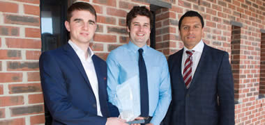 (l-r): NUI Galway Bachelor of Science students Lorcan Farrell and Domhnall Walsh with Dougie Howlett from Munster Rugby.