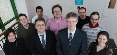Back row, l-r: Dr Brian Davis,Postdoctoral Researcher and Project Manager, Siamak Barzegar, PhD Researcher, Mike Taylor, Research Specialist, Waqas Khawaja PhD Researcher and Dr  Vaclav Belak ,Postdoctoral Researcher
