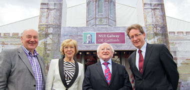 Pictured outside the NUI Galway Pavilion in the Global Village for the Volvo Ocean Race Finale is John Killeen of Let's Do It Global; Sabina and President of Ireland, Michael D. Higgins and President of NUI Galway, Dr Jim Browne