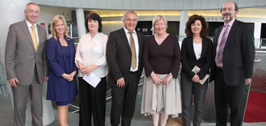 At the launch of Higher Education and Civic Engagement: Comparative Perspectives' were: Tom Boland, HEA Chief Executive; Lorraine Mc Ilrath, Director of the Community Knowledge Initiative, NUI Galway; Helen Mc Quillan, Manager of DCU in the Community; Professor Ronnie Munck, Head of Civic Engagement, DCU; Ann Lyons, Project Manager and Network Co-ordinator for Campus Engage, NUI Galway; Madeleine Clark, Founder of Genio and Ashoka Entrepreneur; and Professor Brian Mc Craith, DCU President.