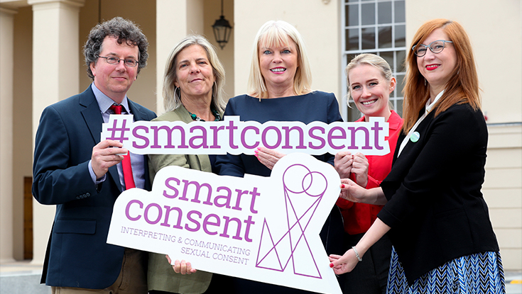 Pictured l-r: Dr Pádraig MacNeela, NUI Galway, Dr Siobhán O'Higgins, NUI Galway, Minister of State for Higher Education, Mary Mitchell O'Connor, Kate Dawson, NUI Galway and Dr Charlotte McIvor, NUI Galway, pictured at the launch of the SMART Consent research report on sexual consent among third level students. Photo: Maxwells