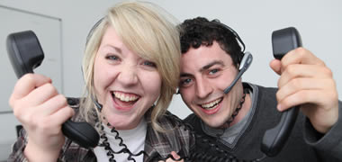 Pictured manning last years Student Hotline were students Emer Henderson and Rory Gavin.