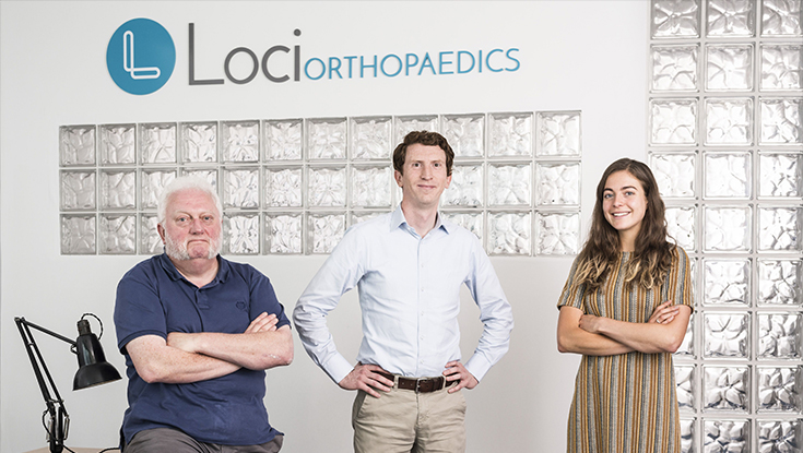 Pictured l-r: Gerry Clarke, Dr Brendan Boland and Fiona Mangan at the Loci Orthopaedics office in NUI Galway. Photo: Loci Orthopaedics