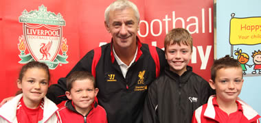 At the launch of the Liverpool FC Football Academy Summer Camp was Liverpool football legend, Ian Rush with (l-r): Niamh Nestor (8), Mark Connolly (8) and Jason Shevlin (10) from Galway, and Lee Murchan (9) from Donegal Town.