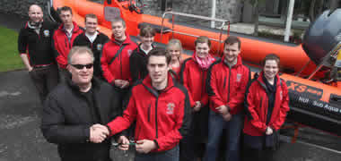 At the handover of the keys of  NUIG/GMIT Sub-Aqua Club's new RIB, Alice Perry, were (l-r): Sean Lyons, The RIB Centre, Cork and Martin Timoney, NUIG/GMIT Sub-Aqua Club with members of the NUIG/GMIT Sub-Aqua Club