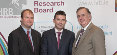 Professor Michael O'Dwyer (centre) at the official launch of the HRB Clinician Scientist Awards with David Vaughan, Directorate of Quality and Clinic al Care, HSE (left) and Enda Connolly, Chief Executive of the Health Research Board (right). Photo by Fennell Photography.
