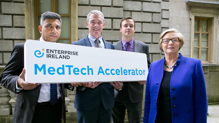 Pictured l-r: Dr Faisal Sharif, Consultant Cardiologist and Director of BioInnovate, NUI Galway; David Murphy, Director of Technology Transfer Office, NUI Galway; Tom Early, Start Department Manager, Enterprise Ireland; An Tánaiste and Minister for Business, Enterprise and Innovation, Frances Fitzgerald, T.D. Photo: Fennell Photography