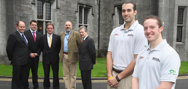 Pictured (l-r): Donál Cahalane, Galway University Foundation; Garrett Maguire, Director of USNI Sport; NUI Galway President, Dr James J. Browne; Joe Coughlan, Head Coach with the Titans Basketball Club; and Padraic Fogarty, Chairman of the Titans Basketball Club, with NUI Galway USNI Victory scholars Will Archambault and Timothy Coyne.