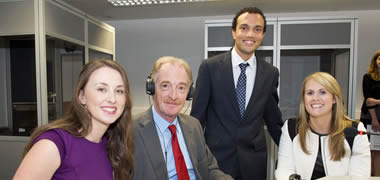 Pictured with the European Commission's Directorate-General for Interpretation, Mr Marco Benedetti who visited NUI Galway today are students of the MA in Conference Interpreting Breda Ní Mhaoláin (left) and Anthony Hoyte West(2nd right); and Susan Folan, Programme Director of the MA in Conference Interpreting, NUI Galway (right).