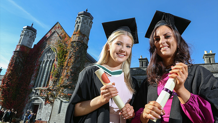 Pictured during NUI Galway's Conferring Ceremony were (l-r) Rachel Dineen from Salthill, Galway City and Carroll Daly from Clarinbridge, Co. Galway, who were conferred with an Honours Bachelor of Arts degree.