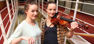 Pictured at the launch were twins Sinéad and Aoife Scott from Kingston, Galway who are first year Speech and Language Therapy students at NUI Galway.