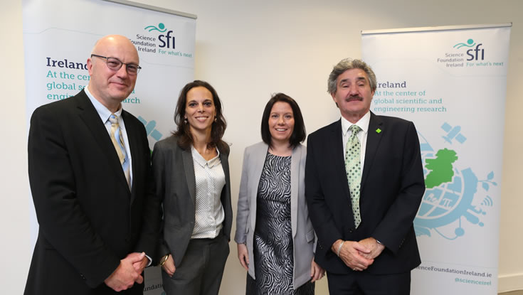 (from left to right): Director General of Science Foundation Ireland and Chief Scientific Adviser to the Government of Ireland, Professor Mark Ferguson, NUI Galway's Dr Laura Russo and Dr Aideen Ryan, Minister of State for Training, Skills and Innovation, John Halligan TD.