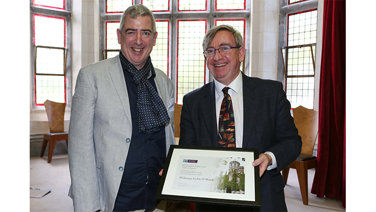Professor Colin O'Dowd, Director of the Ryan Institute's Centre for Climate and Air Pollution Studies, NUI Galway receives his President's Award for Research Excellence from Professor Ciarán Ó hÓgartaigh, President of NUI Galway.
