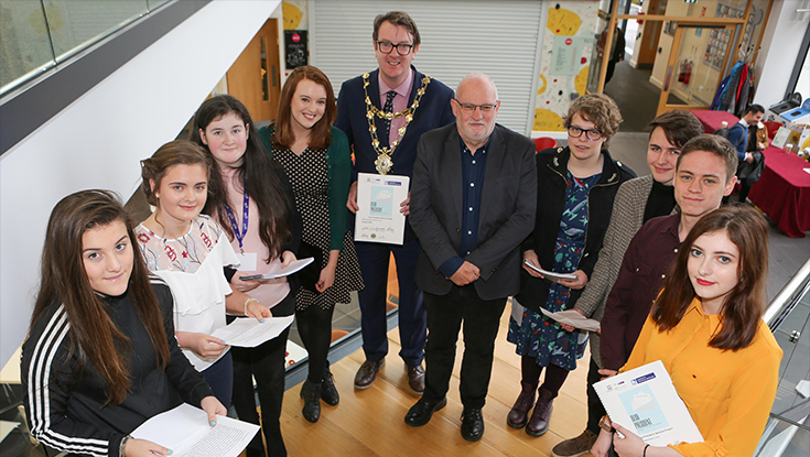 Pictured at the launch of the 'Dear President' publication at NUI Galway are from l-r: Chantal Flaherty, Ciara Maxwell, Katie Blain, Roisin Dolan, Foroige, Councillor Niall McNelis, Mayor of Galway City Council, Professor Pat Dolan, NUI Galway, Niamh Petrie, Peter O'Brien, Jake Gaffey and Ella Anderson.